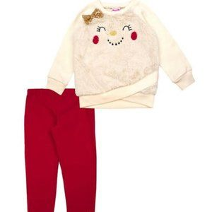 Toddler Girls Snowman Face Top and Leggings Set